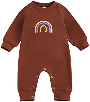 Newborn Baby Boy Girl Long Sleeve Rainbow Print Long Sleeve Romper Footies Bodysuits Jumpsuit product image