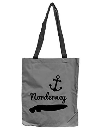 WB wohn trends Reflektor-Tasche Insel Norderney maritim, grau-Silber REFLEKTIERT! Einkaufs-Beutel mit Innentasche, Einkaufstasche Tragetasche Shopper Shopping-Bag