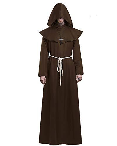 KONVINIT Medieval Fraile Túnica Disfraz Monje con Capucha Disfraces de Monje Sacerdote Disfraz de Monje Hombre para Halloween Disfraz Cosplay marrón M