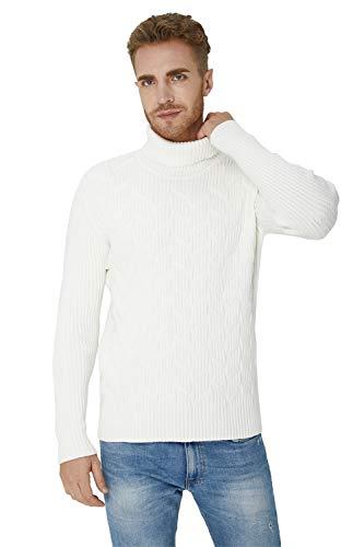 Loveternal Pullover Herren Weiß Rollkragenpullover Slim Fit Strickpullover Gestrickt Sweatshirt Einfarbig Stehkragen Pullover Fallen Winter Sweater L