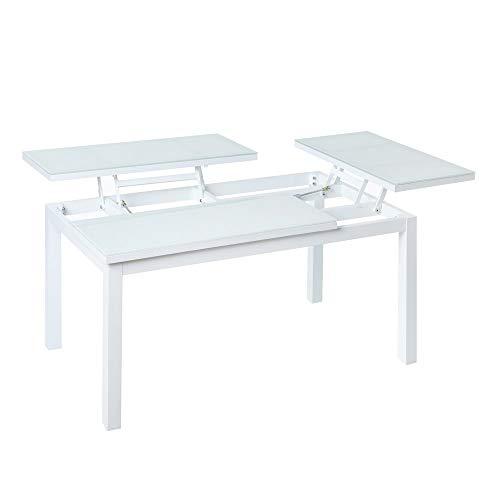 LOLAhome Mesa de jardín abatible de 2 bandejas de Aluminio Blanco de 100x64x48 cm