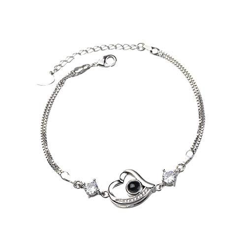 Yazidan Damen Armband Sterling Silber Zirkonia Armkette Verstellbar Charm Armband Neue 100 Sprachen Ich Liebe Speicher Projektionsarmband Diamant Ohrstecker für Frauen