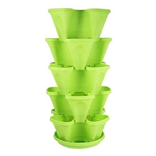 YARNOW Vaso per piante a colonna, 5 ripiani, impilabile, in plastica, per ortaggi, fiori, fragole, vaso per piante, vaso con sottovaso, verde