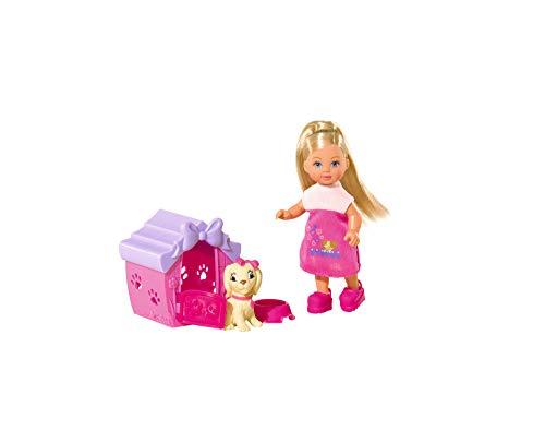 Simba 105735867 - Evi Love Dog House / mit Hundefigur und Hundehütte / Ankleidepuppe / 12cm, für Kinder ab 3 Jahren
