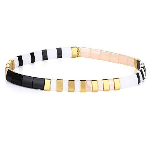 KANYEE Bracelets élastique Bracelets D'amitié Fait Main Bracelets Perlés Tila Bracelets Breloques De Mode pour Femme – 9I