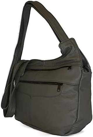Fin Stores Leather Hobo Bag (Grey)
