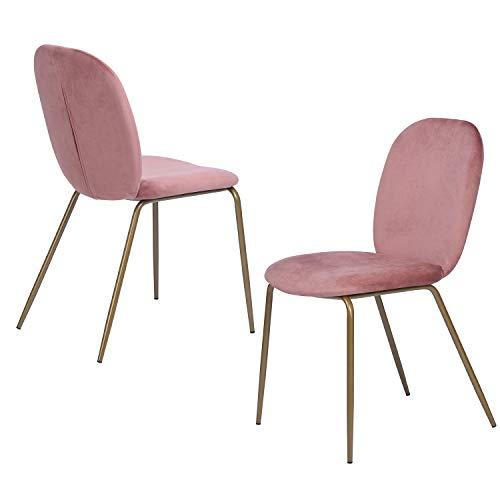 FurnitureR Juego de 2 sillas de Comedor de Terciopelo, sillas Laterales tapizadas para Sala de Estar, sillas Modernas con Patas de Metal Dorado Rosa