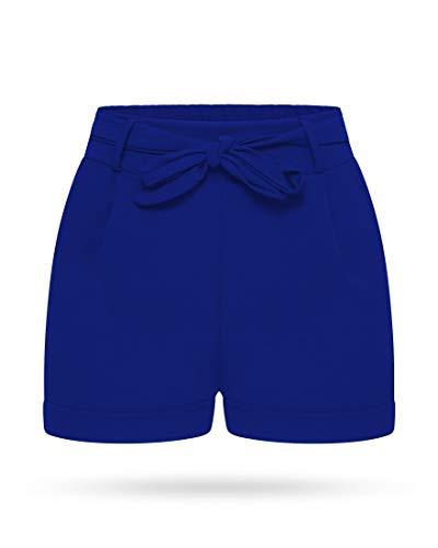 Kendindza Damen Sommer Shorts | Kurze Hose mit Schleife zum binden | Bermuda | Uni-Farben (L/XL, Navyblau)