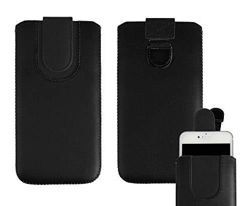 Emartbuy Negro/Negro Cuero Premium PU Deslizar en Funda Case Tipo Bolsa (Talla SA6) con Mecanismo de Lengüeta Adecuado para Teléfonos Inteligentes Que Figuran a Continuación
