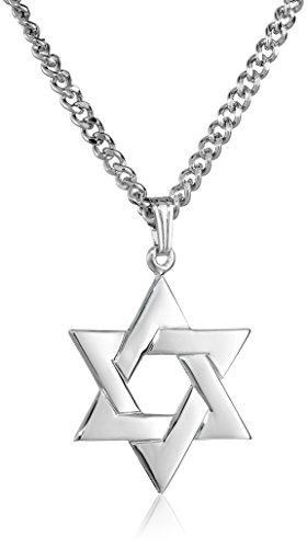 Men's Sterling Silver Star of David Pendant with Stainless Steel Chain, 24'