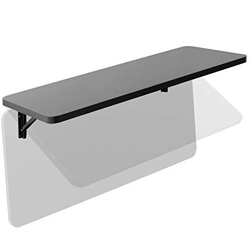 VIVO Wall Mounted Folding 43 inch Workbench, Fold Away Table Workstation Shelf with Adjustable Steel Brackets, Black, MOUNT-SF1FB