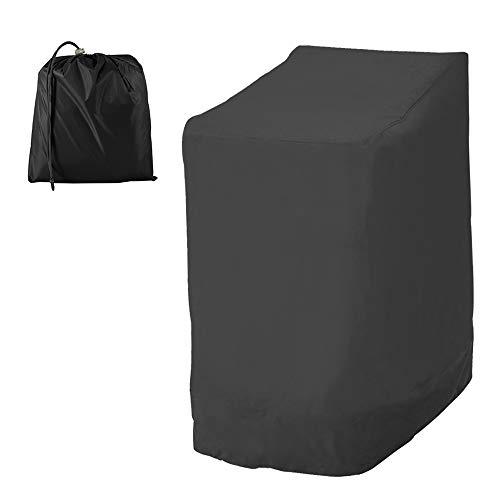 Housse Chaise Jardin Empilables 210D Oxford Imperméable, Couverture de Protection pour Fauteuils Patio Extérieur avec Corde Ajustable 114x85x65cm (210D, Noir)