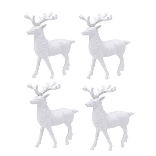 Amosfun White Christmas Reindeer Sculpture Deer Figurine Statue Props Home Office Decor Xmas Table Decoration 4pcs 14cm