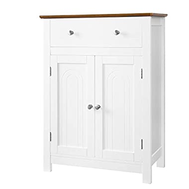 SONGMICS Free Standing Bathroom Storage Cabinet with Drawer and Adjustable Shelf, Kitchen Cupboard, Wooden Entryway Floor Cabinet, 23.6  L x 11.8  W x 31.5  H, White & Brown, UBBC62WT