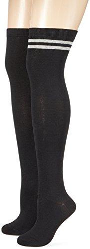 Urban Classics Damen Ladies Overknee Socks 2-Pack Kniestrümpfe, Schwarz (Schwarz/Weiß 00605), 41 (Herstellergröße: 40-42)