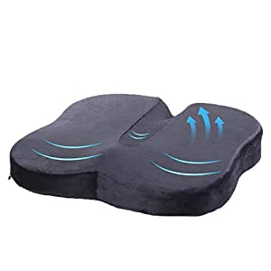 Cojin Ortopédico para Coxis de Espuma de Memoria, TravelEase Cojin de Asiento para Dolor de Espalda y Alivio de Dolor de Hueso de la Cola Sciático, Usado para Silla de Oficina, Silla de Rueda (Negro)