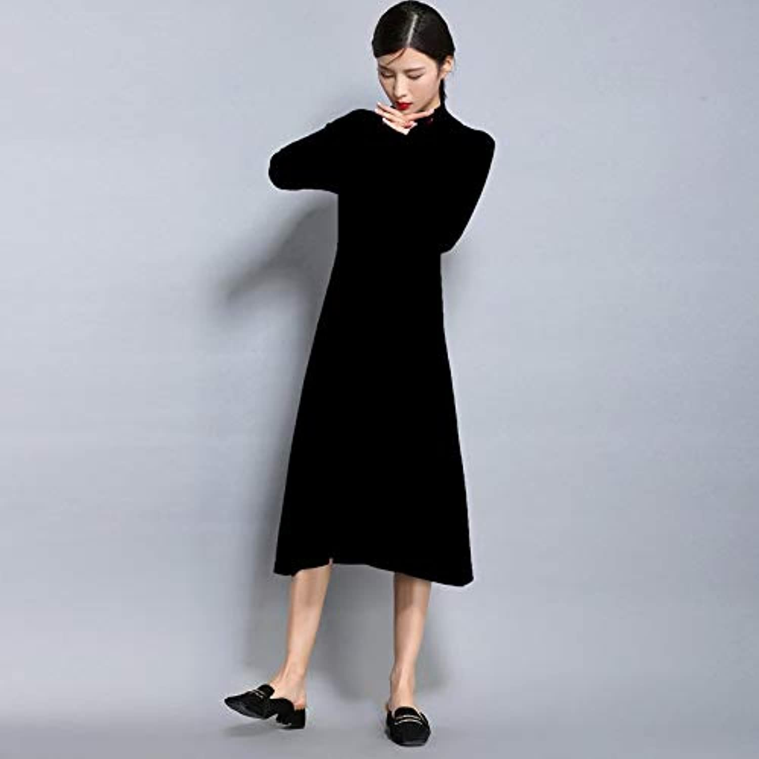 Cxlyq Dresses Winter Women Sweater Dress Women Casual Dresses ONeck Loose Long Dresses
