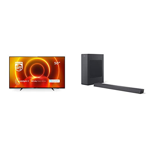 Philips 50PUS7805/12 50-Zoll 4K UHD TV mit Ambilight (P5 Engine, Dolby Vision∙Atmos, Alexa Sprachsteuerung, Saphi Smart TV) mit Soundbar B6305/10 inkl. Subwoofer (Bluetooth, 140 W, Dolby Audio) Grau