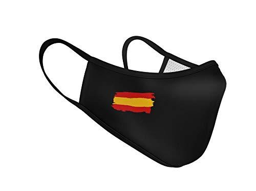 Mascarilla Higiénica de Tela Homologada Reutilizable Bandera de España - Negra