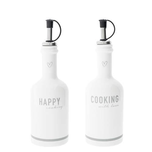 Bastion Collections Flasche Happy & Cooking Keramik Weiss incl. Ausgießer