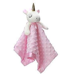 Pro Goleem Unicorn Loveys for Babies Soft Plush Pink Security Blanket for Girls Stuffed Animal Blanket Fleece Lovies for Babies Gift for Newborn, Infant and Toddler