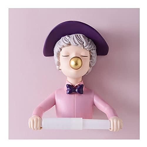 Dibujos Animados Creativo Titular De Papel Higiénico Soporte De Papel Higiénico Adhesivo para Baño, Soporte De Papel Higiénico Montado En La Pared (Color : Pink(Hat))