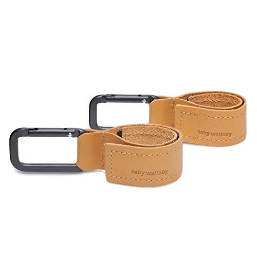 Baby Wallaby Kinderwagen Haken aus Leder, skandinavisches Design, Schadstofffrei, Taschenhalter für Kinderwagen, Karabinerhaken für Handtaschen, Universelle Passform, 2er Pack