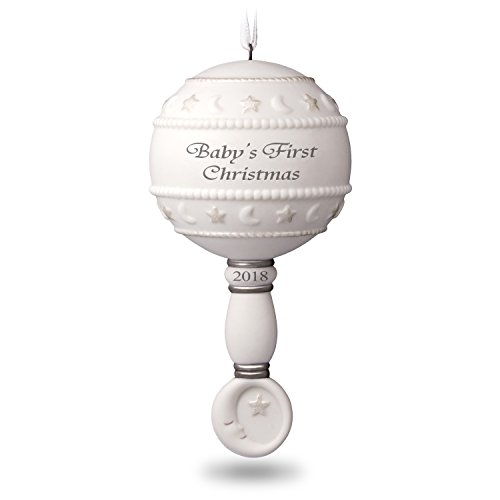 Hallmark Keepsake Christmas Ornament 2018 Year Dated Baby's First Rattle Year Dated Porcelain