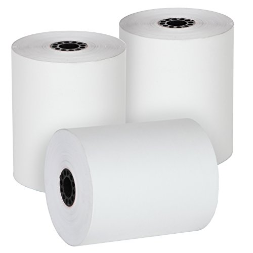 """FHS Retail 3 1/8"""" x 230' Guaranteed Length Thermal Receipt Paper Rolls (50 Rolls) - for Most Receipt Printers, POS Systems, and Cash Registers"""