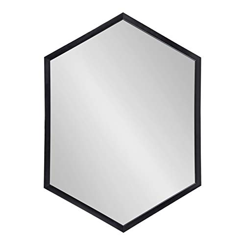 "Kate and Laurel Laverty Modern Framed Hexagon Mirror, 22"" x 31"", Black, Contemporary Geometric Wall Decor"