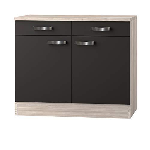 MMR Unterschrank Küche DALLAS, Küchenschrank, 2-türig, 100 cm breit, Grau/Akazie Dekor