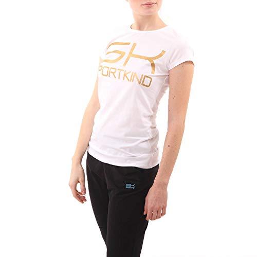 SPORTKIND Girls & Ladies Tennis Training T-Shirt Cotton, White, Size Large
