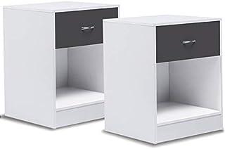 IDMarket - Lot de 2 Tables de Chevet Bois Olga Blanches tiroir Gris