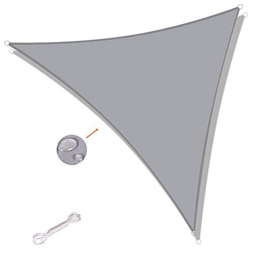 SUNNY GUARD Toldo Vela de Sombra Triangular 3x3x4.25m Impermeable a Prueba de Viento protección UV para Patio, Exteriores, Jardín, Color Gris