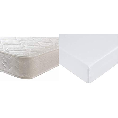 Starlight Beds - Sprung Double Mattress With Memory Foam And A Deluxe Knitted Onion Micro Quilted Stretch Fabric (4ft6 Double Mattress) & AmazonBasics Microfibre Fitted Sheet, Double, Bright White