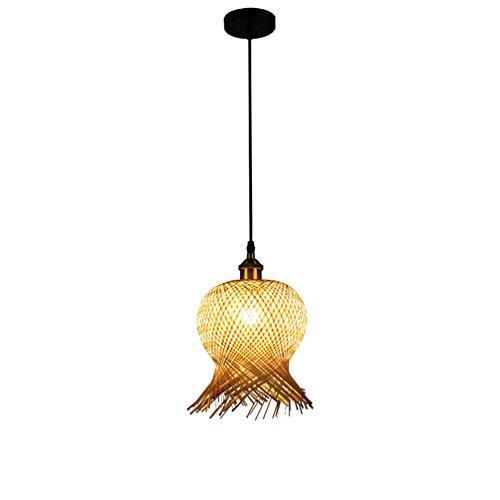 Lustre en bambou, lampe de chevet pour chambre à coucher Créativité Club décoration lustre magasin de vêtements fenêtre Lustre Art modélisation lampe E27, 20 * 19cm réglable fil à suspendre 150 CM ( taille : 20*19CM )