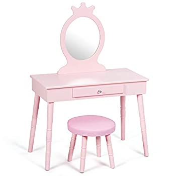 GOFLAME Kids Vanity Set Princess Dressing Table Set Wooden Dresser Little Girls Makeup Table and Stool Set Pretend Beauty Play Set with Real Mirror Pull-Out Drawer and Cushioned Stool  Pink