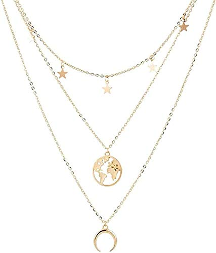 huangxuanchen co.,ltd Necklace Necklace Boho Color Star Moon World Map Pendant Multi-Layer Necklace for Women Chains Pendant Necklace Wedding Gifts