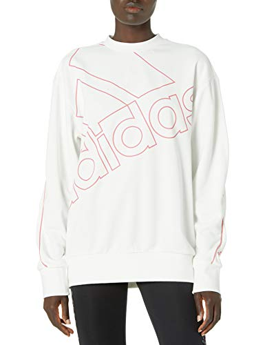 adidas womens Essentials Brand Love Sweatshirt White/Hazy Rose X-Small