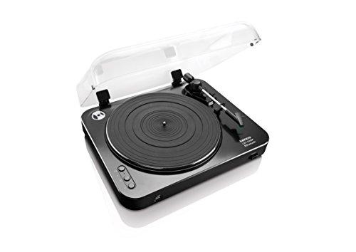 Lenco LBT-120 - Halbautomatischer USB Plattenspieler - Mit Bluetooth - Riemenantrieb - 2 Geschwindigkeiten 33 U/min , 45 U/min - digitalisieren ohne PC - schwarz