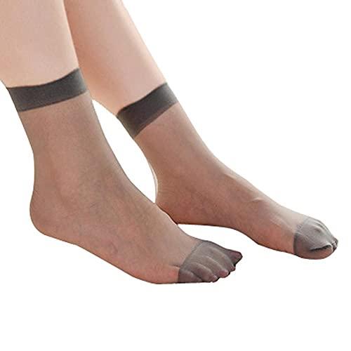 URIBAKY - 10 pares de calcetines para mujer, ultrafinos, elásticos, seda, para niña, medias cortas, calcetines bajos, calcetín de algodón, multicolor, e, Talla única
