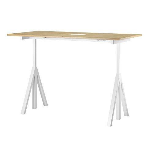Unbekannt String Works Desk Schreibtisch 140x78cm, Eiche Gestell weiß BxHxT 140x118.5x78cm elektrisch höhenverstellbar 71.5-118.5cm