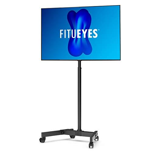 FITUEYES Carrello porta TV mobile per 13'- 42' con staffa Supporto per TV con display regolabile in altezza 8 con base a doppio tubo su ruote bloccabili TT106401MB