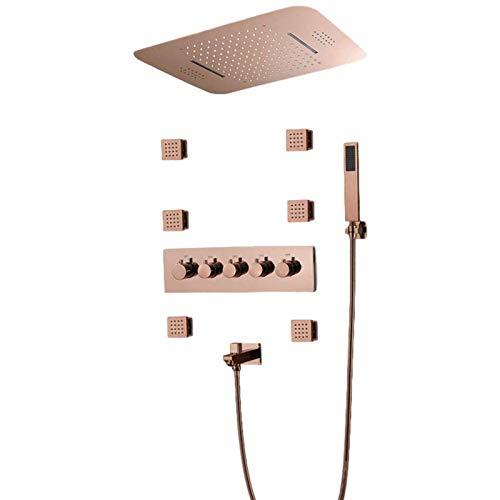 Doifck Sistema de Ducha de Lluvia Sistema de Ducha Musical LED de 64 Colores Juego Combinado de Ducha Termostática con Ducha de Mano Y Chorros de Cuerpo de 6 Piezas Techo Montado