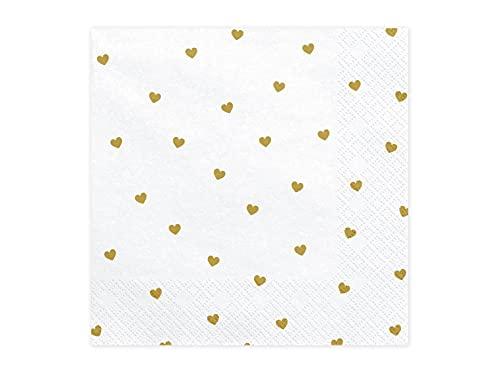 20 servetten wit, harten goud   van papier