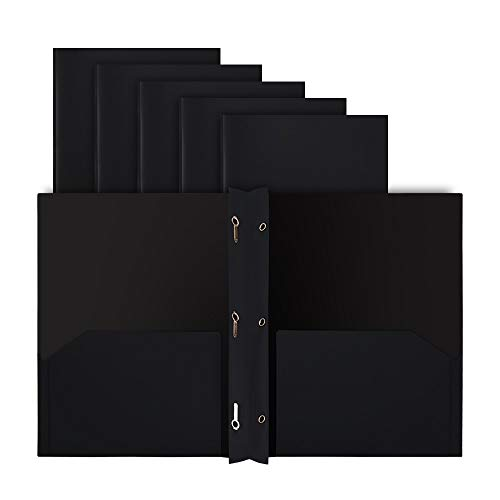 COMIX 2 Pocket Letter Size Poly File Plastics Folders with 3-Prong Fastners - 12 Packs (Black)