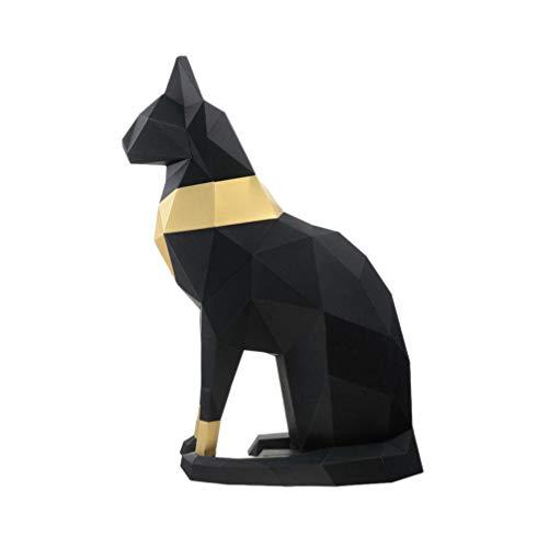 Garneck Modelo de Papel 3D Gato Egipcio Origami Geométrico Papel Artesanal Construcción Rompecabezas Doblar Papel para Diy Decoración de Papercraft (Negro)