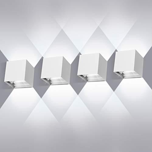 Aplique de pared exterior LED de 12W*4,Lámpara de pared Impermeable IP65, apliques pared led de Angulo de Haz Ajustable