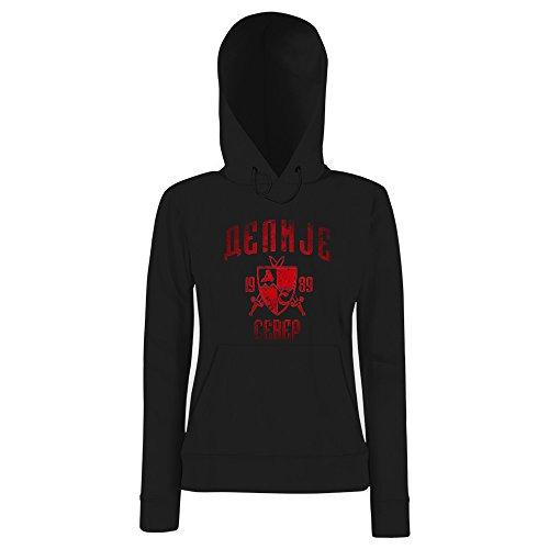 Shirt Happenz Delije Damen Kapuzenpullover Crvena Zvezda Beograd Sever Red Star Fan Srbija Vintage Hoodie FrauenHoodie, Farbe:Schwarz (Black F409);Größe:S