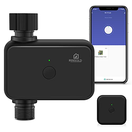 IRRIGOLD Smart Sprinkler Timer Controller with WiFi Hub/Bluetooth, Programmable Irrigation System Watering Hose Faucet Timer for Outdoor Garden Use